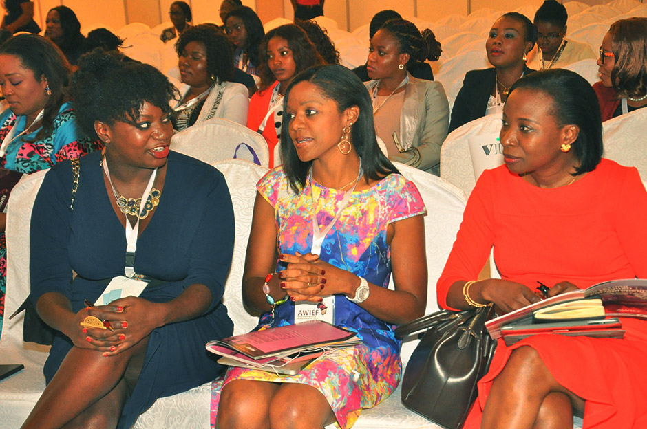 Njideka Harry (center) with Fatoumata Ba, CEO of Jumia (left) and Mopelola Balogun (right), MTN Nigeria