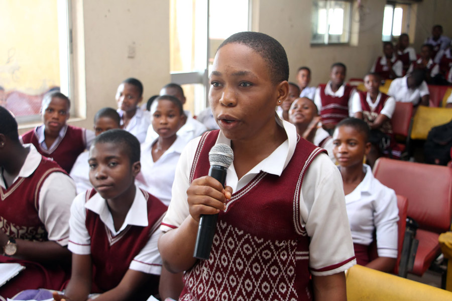 A secondary school student speaking at Girls in ICT Day at YTF's Owerri Digital Village, Nigeria