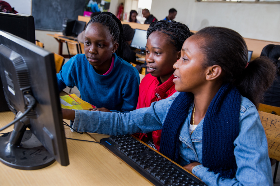 YTF Academy students at the Wezesha Digital Village, Nairobi, Kenya