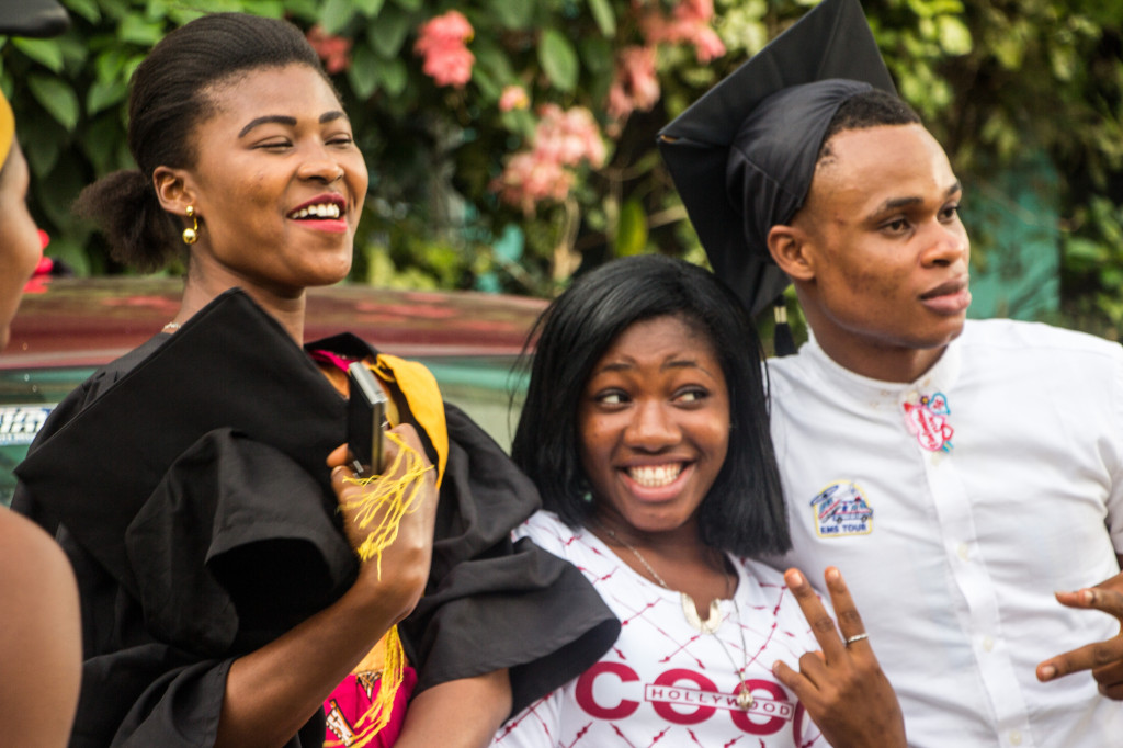 Chiamaka in the middle of her classmates at graduation.