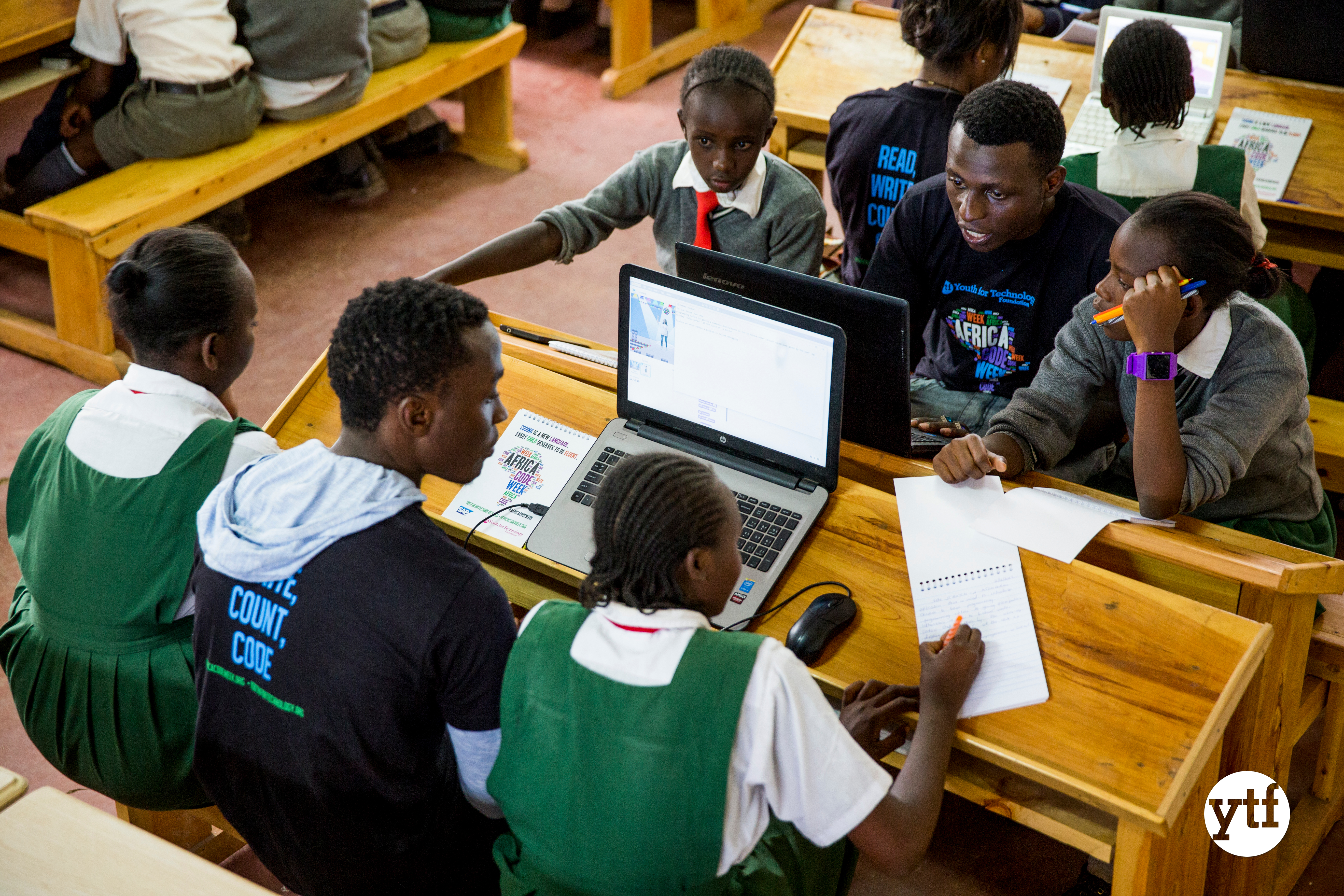 Students learning Scratch with YTF at Africa Code Week with YTF
