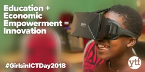 "Image of girl wearing virtual reality goggles. Text reads ""Education plus Economic Empowerment equals Innovation"""